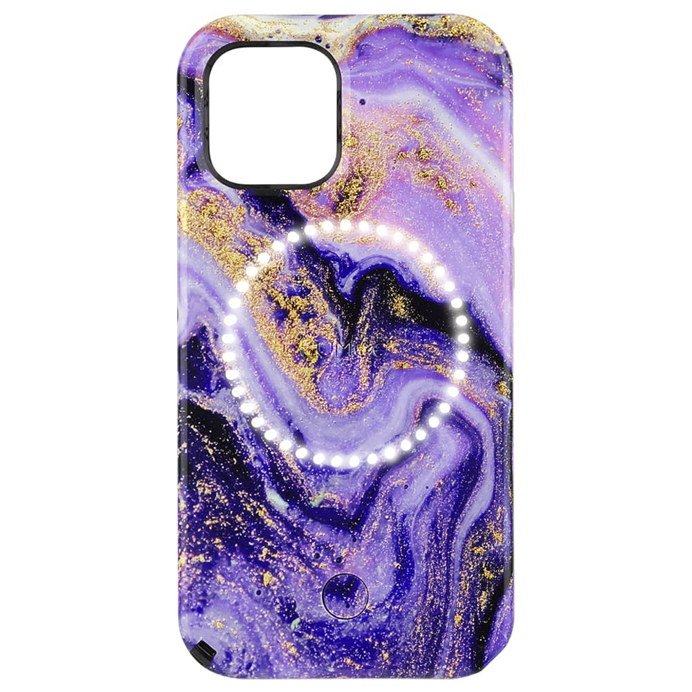 """Case-Mate LuMee Halo Case For iPhone 12/12 Pro 6.1"""" Purple Marble"""
